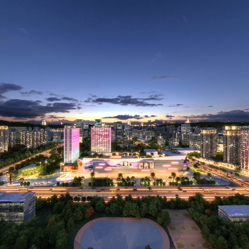 五华吾悦广场住宅商业景观全景图